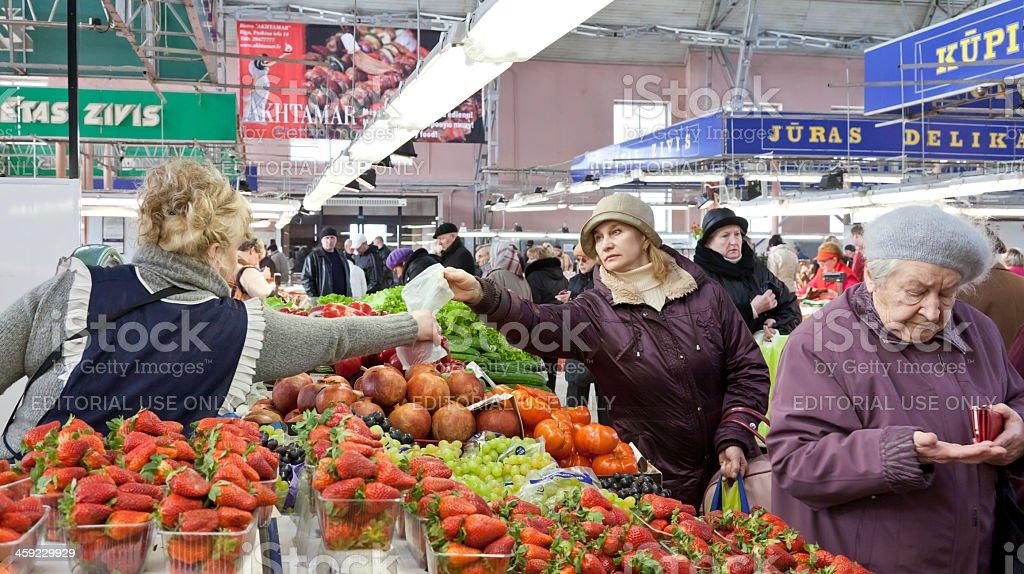Produce section in Riga Central Market, Latvia royalty-free stock photo