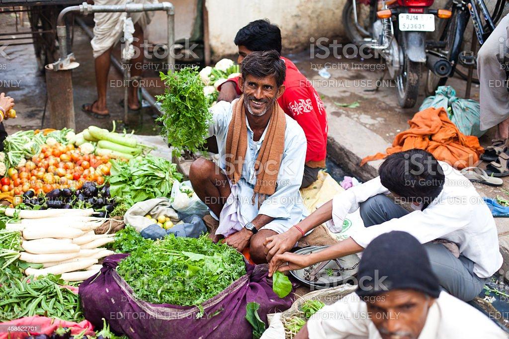 Produce Shopping in Jaipur, Rajasthan, India royalty-free stock photo