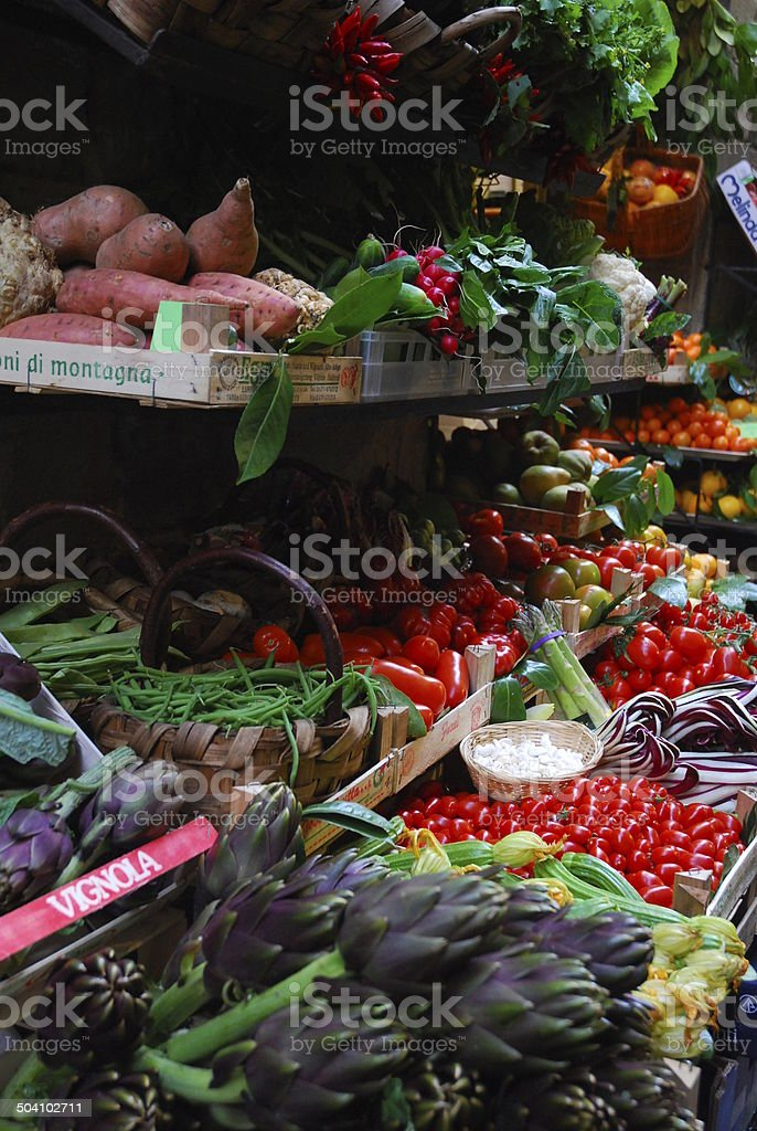 Produce stand with colourful fruits and vegetables royalty-free stock photo