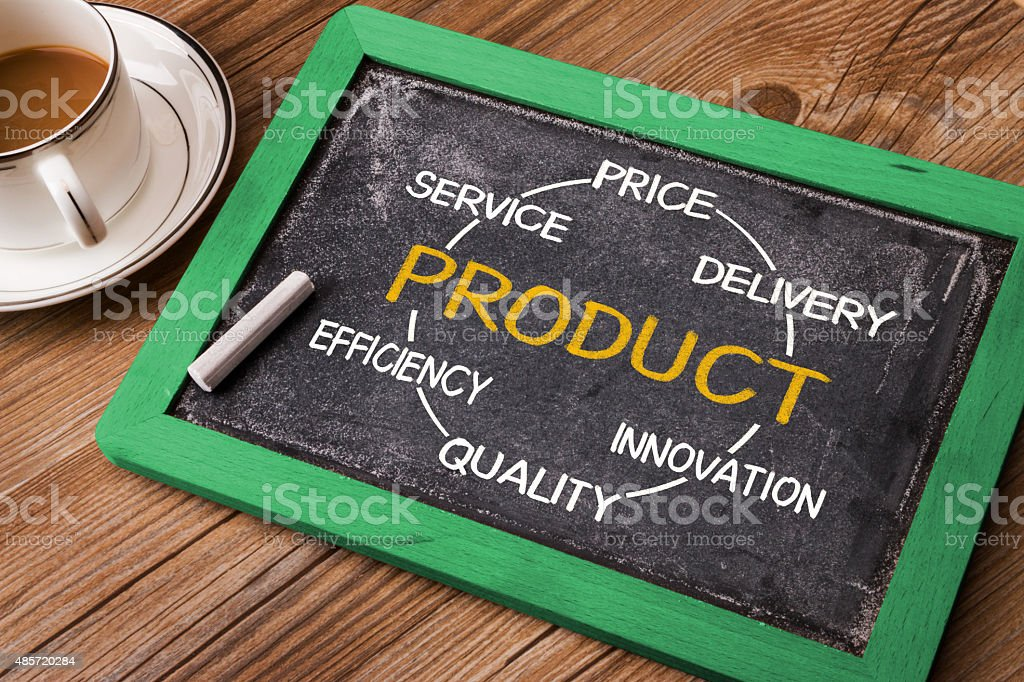 product concept diagram hand drawn on blackboard stock photo