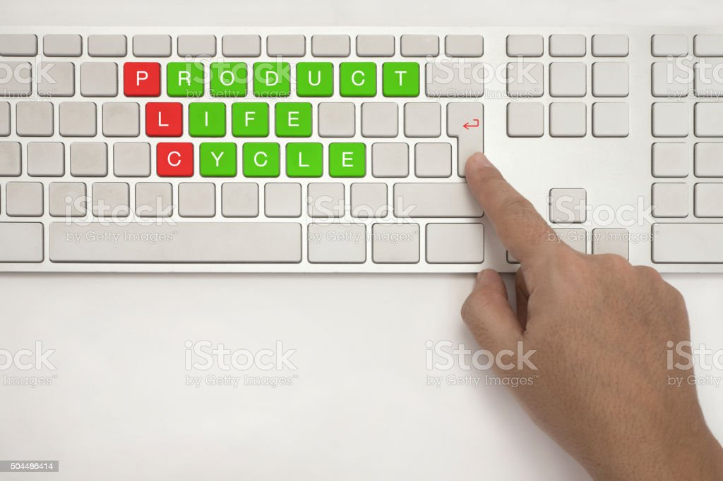 Product Life Cycle on  Keyboard Button stock photo