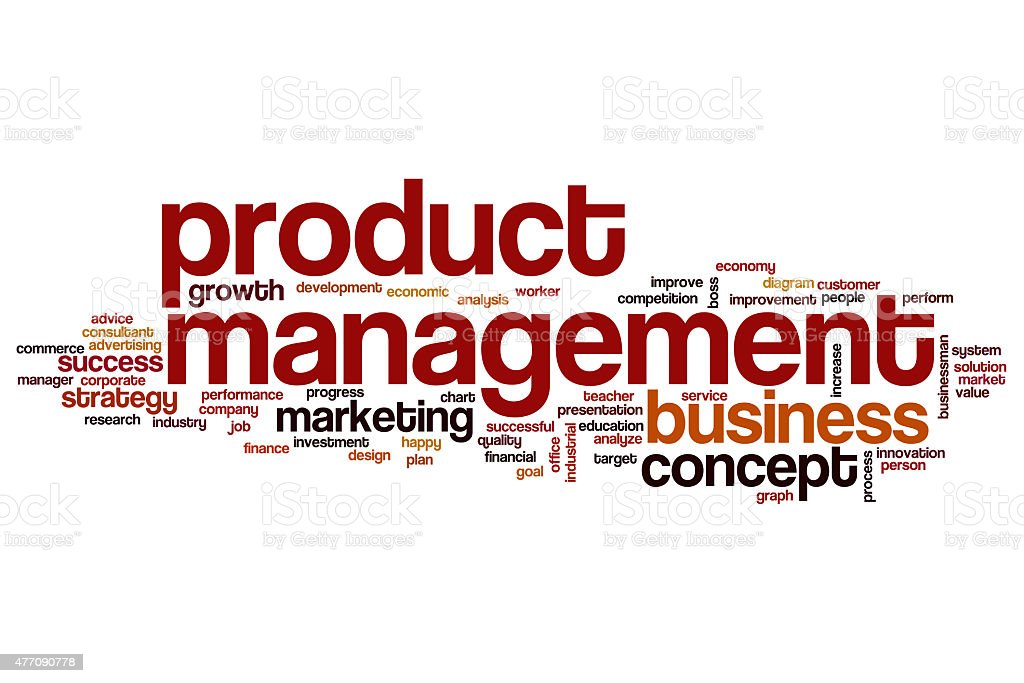 Product management word cloud concept stock photo