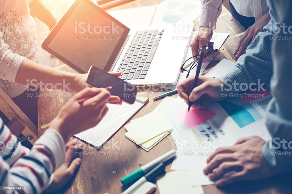 Product meeting. New marketing strategy brainstorming stock photo