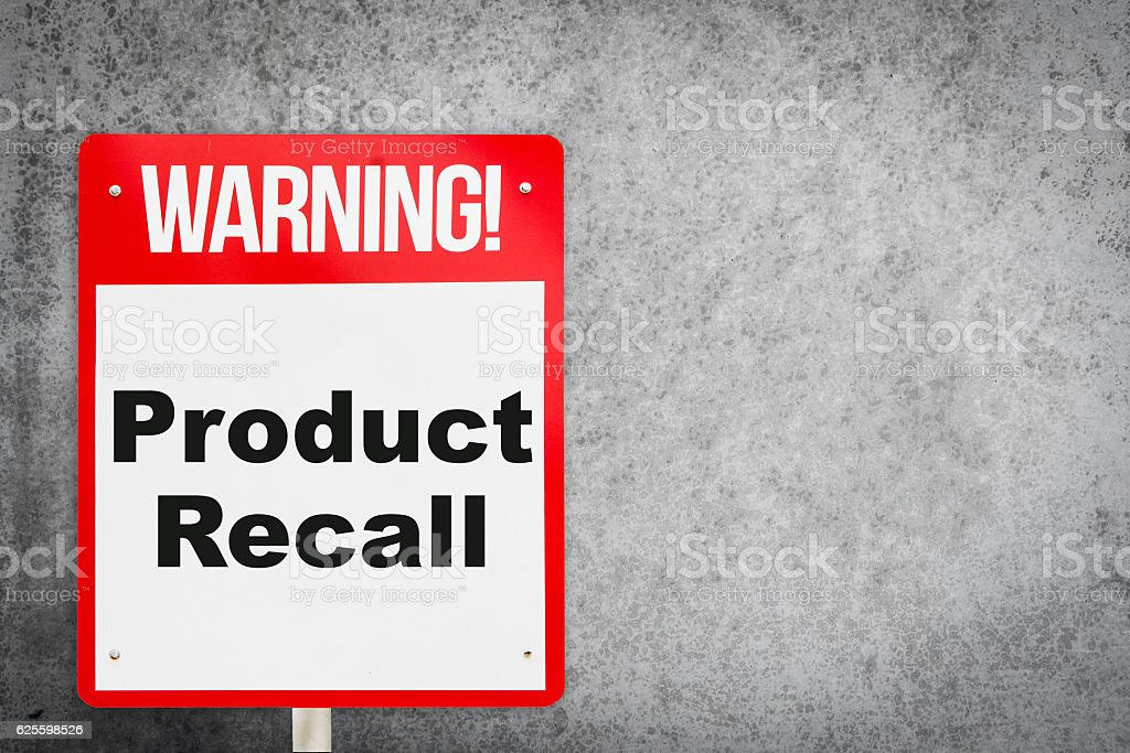 Product Recall problem warning signage for production industry. stock photo