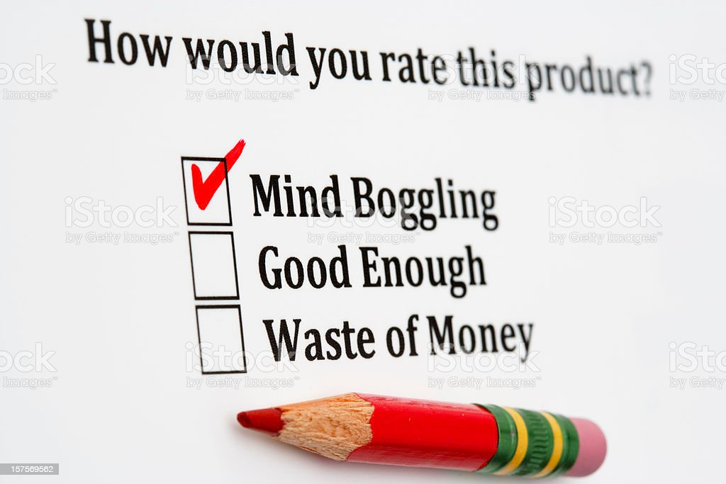 Product satisfaction survey with checkboxes and red pencil royalty-free stock photo