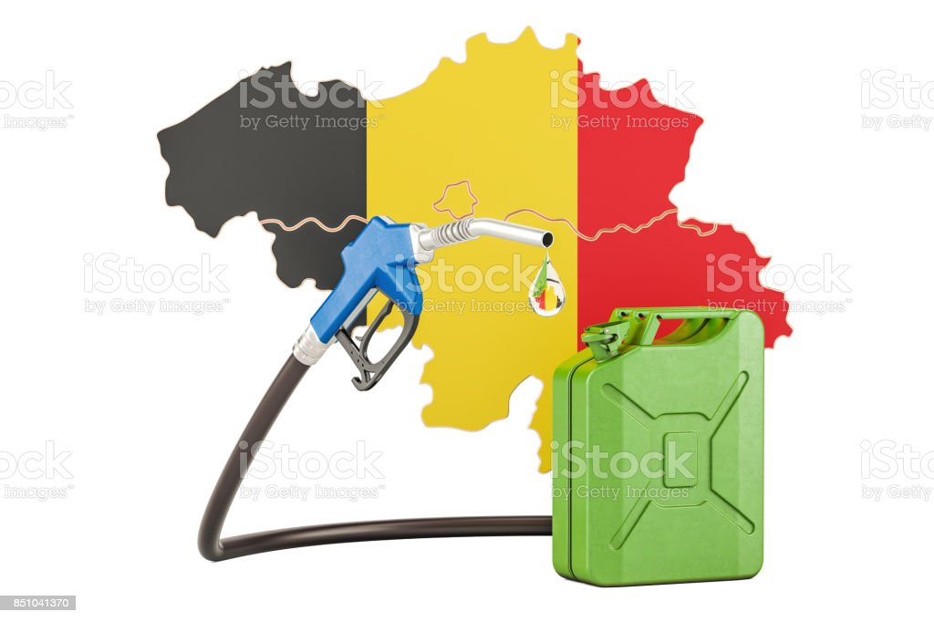 Production and trade of petrol in Belgium, concept. 3D rendering isolated on white background stock photo