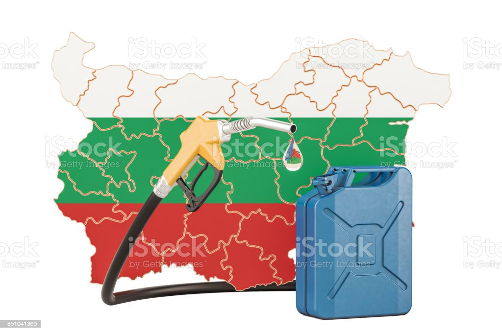Production and trade of petrol in Bulgaria, concept. 3D rendering isolated on white background stock photo