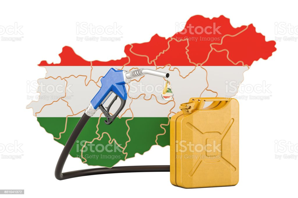 Production and trade of petrol in Hungary, concept. 3D rendering isolated on white background stock photo