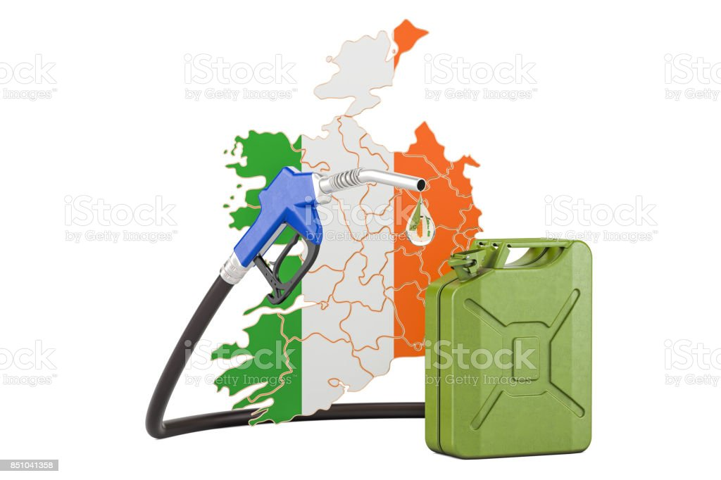 Production and trade of petrol in Ireland, concept. 3D rendering isolated on white background stock photo