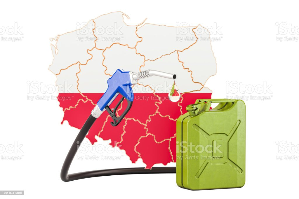 Production and trade of petrol in Poland, concept. 3D rendering isolated on white background stock photo