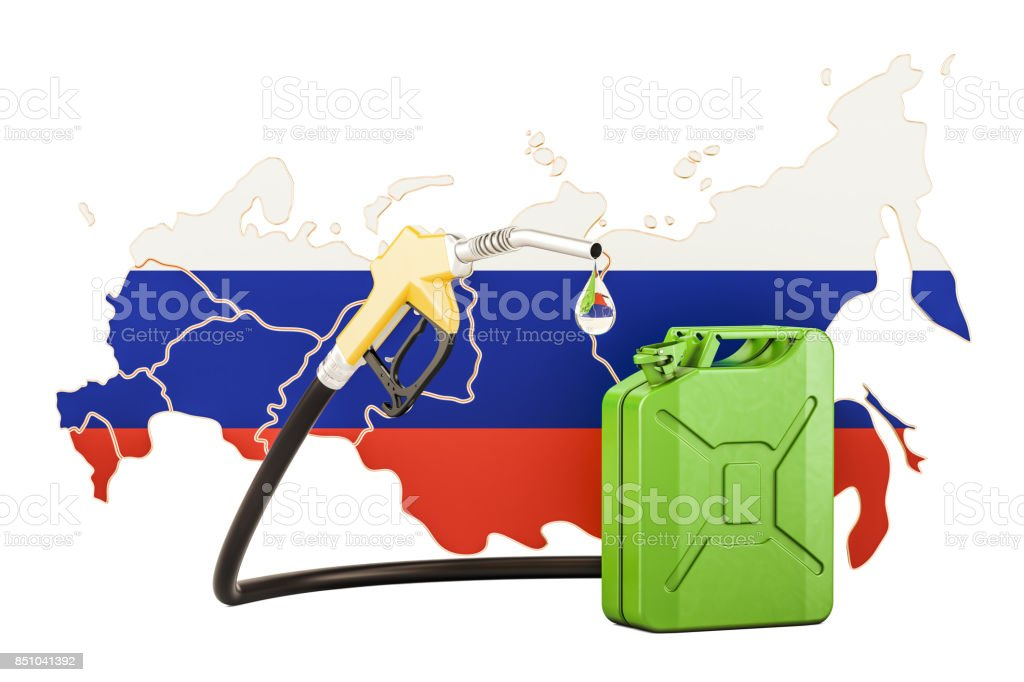 Production and trade of petrol in Russia, concept. 3D rendering isolated on white background stock photo
