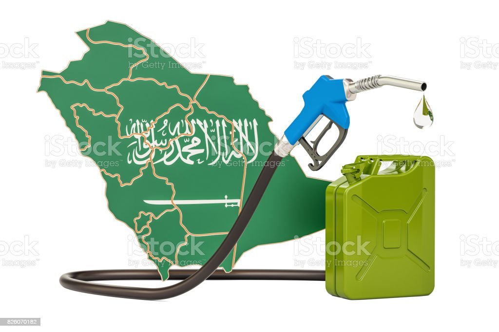 Production and trade of petrol in Saudi Arabia, concept. 3D rendering stock photo