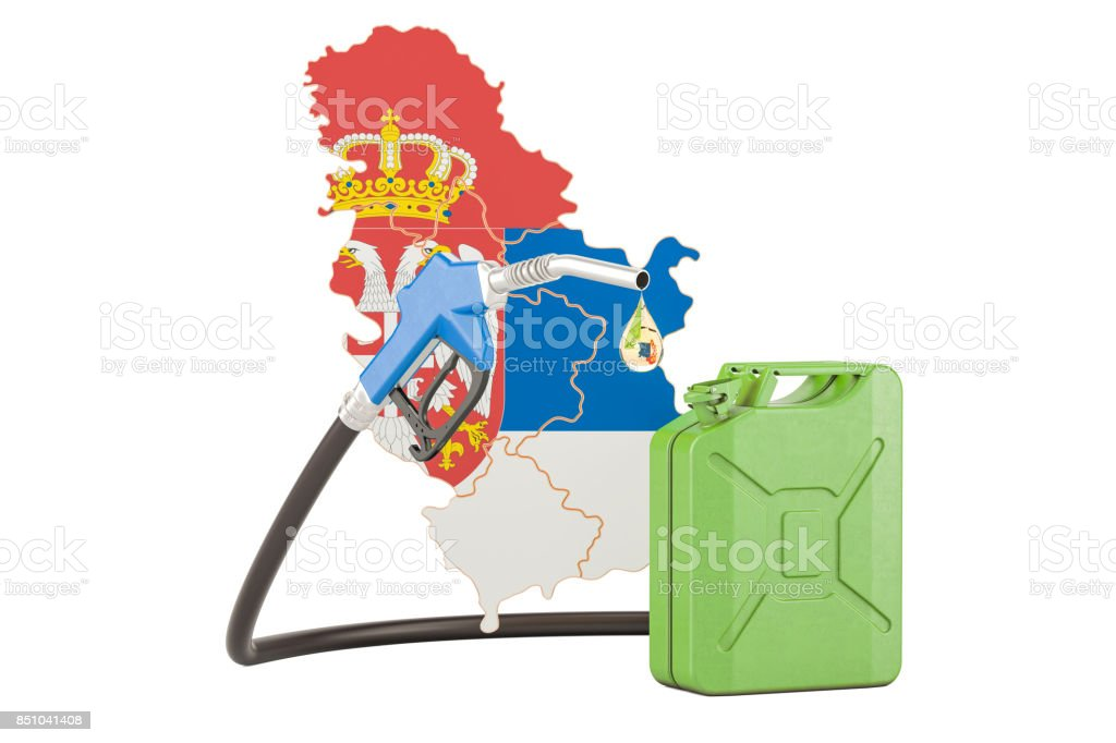 Production and trade of petrol in Serbia, concept. 3D rendering isolated on white background stock photo