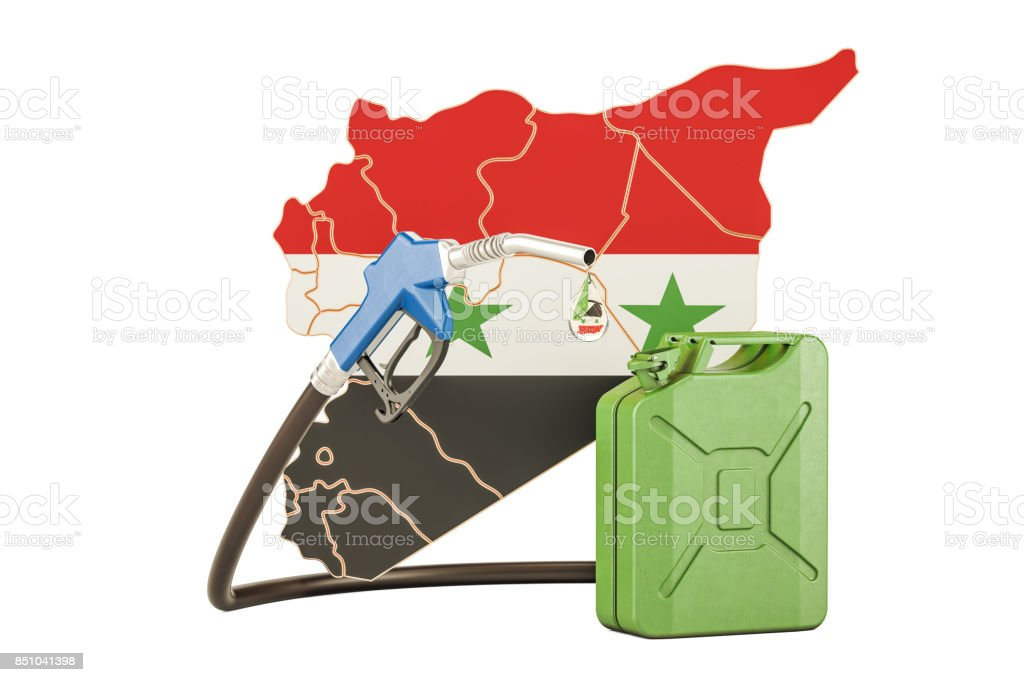 Production and trade of petrol in Syria, concept. 3D rendering isolated on white background stock photo