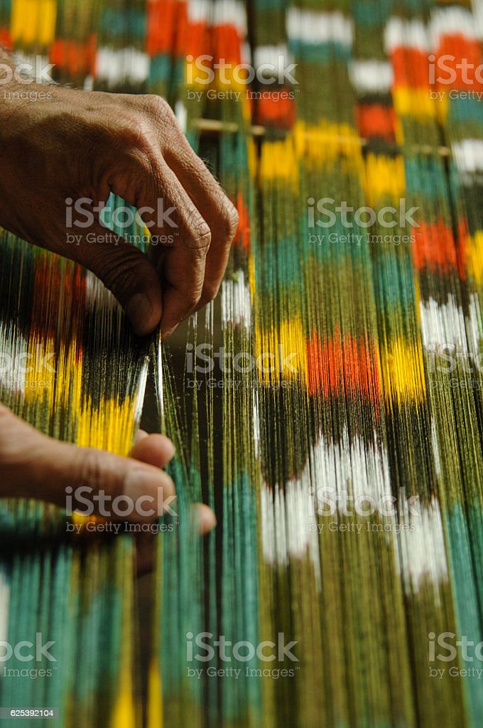 production and weaving of carpets and fabrics stock photo