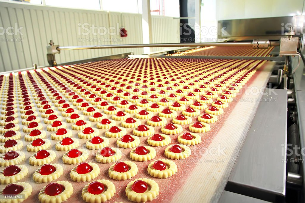 production cookie in factory stock photo