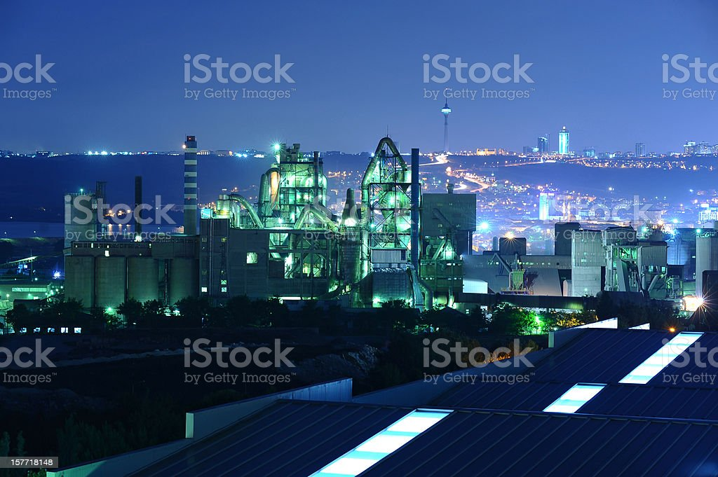 production line beyond the modern city stock photo