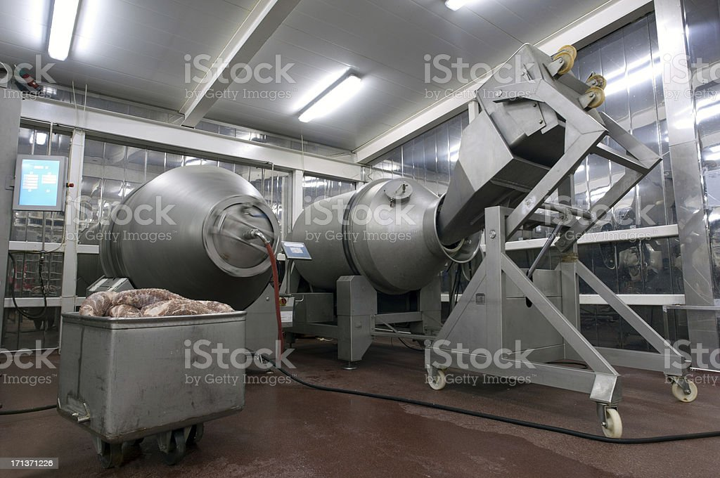 Production line in a food factory. Meat products preparation. royalty-free stock photo