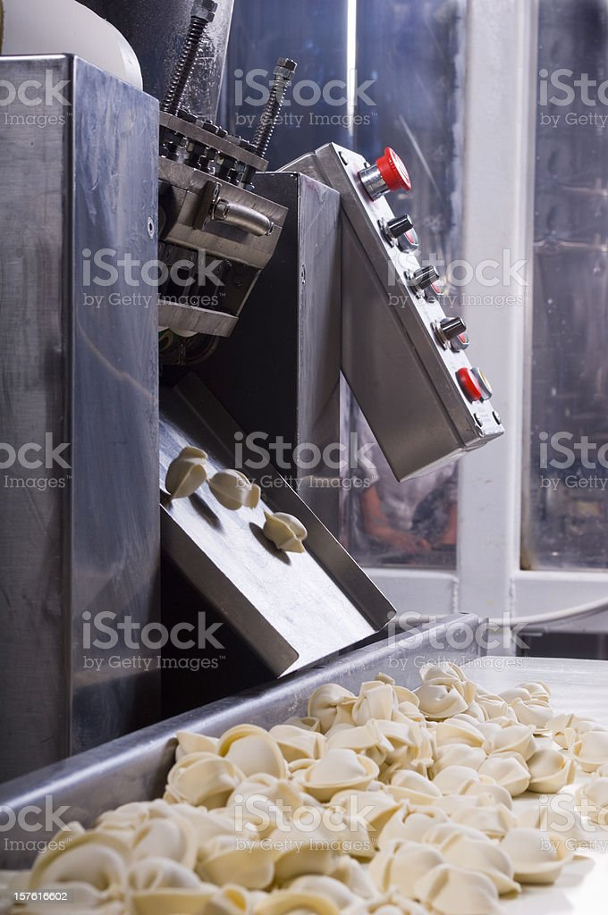 Production line in a food factory. Ravioli preparation. royalty-free stock photo