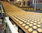 Production line in food factory