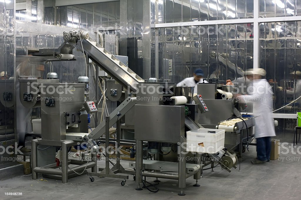 Production line in the food factory. stock photo