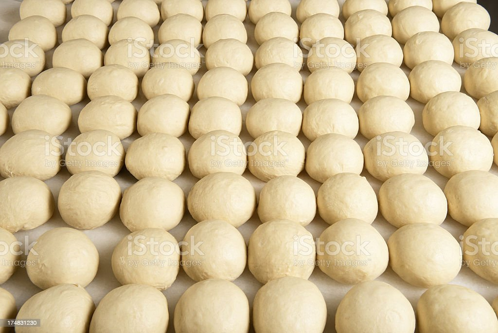 Production line of burger breads stock photo