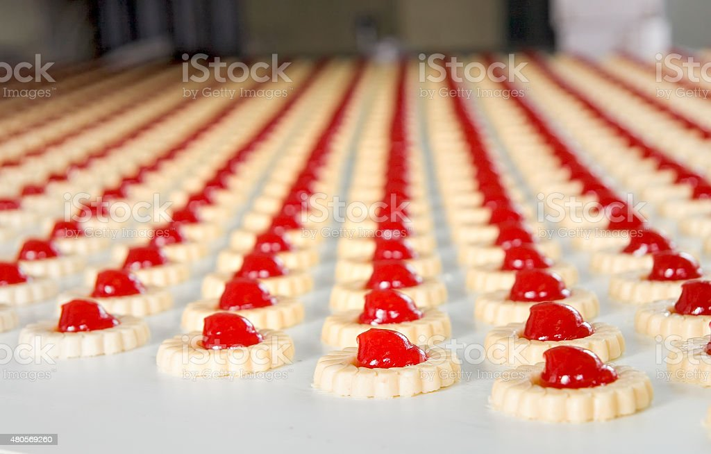 Production of biscuits stock photo