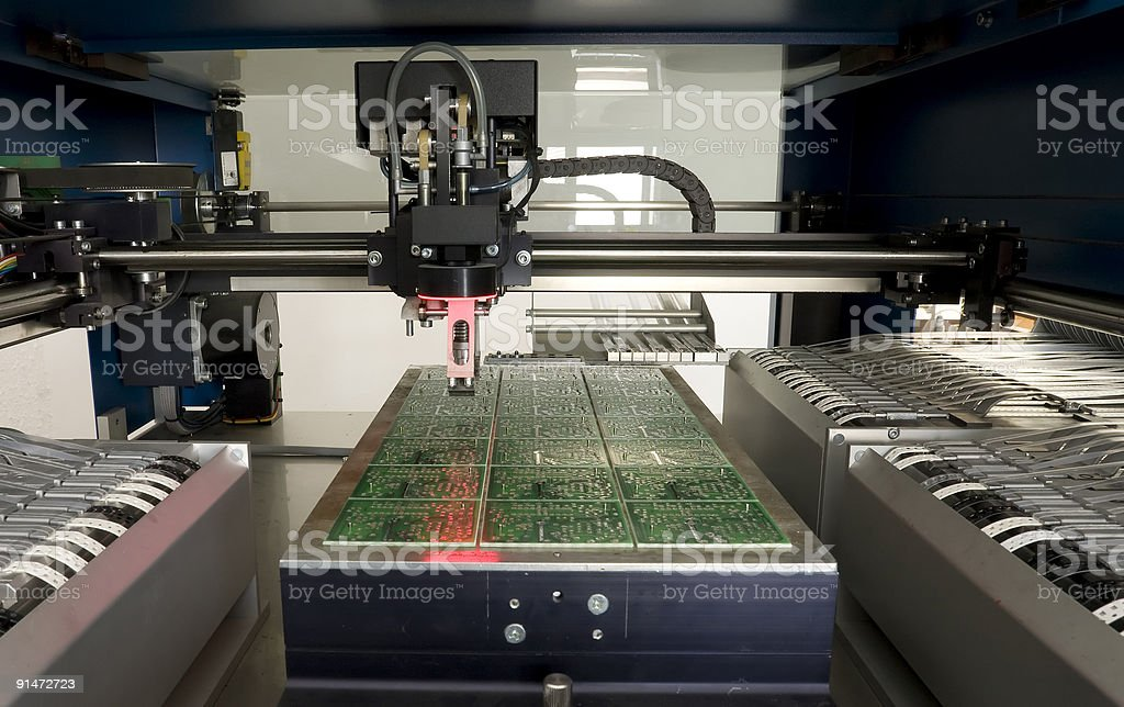 Production of  Circuit Board stock photo