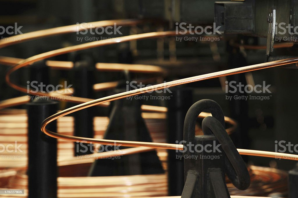 Production of copper wires stock photo