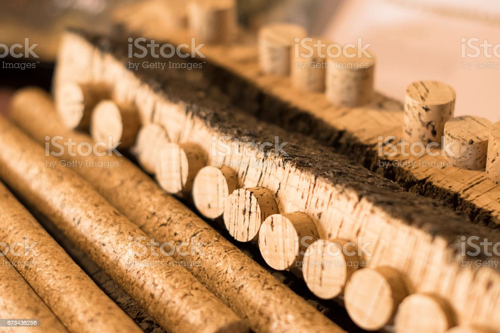 Production of corks for wine. Selective focus stock photo