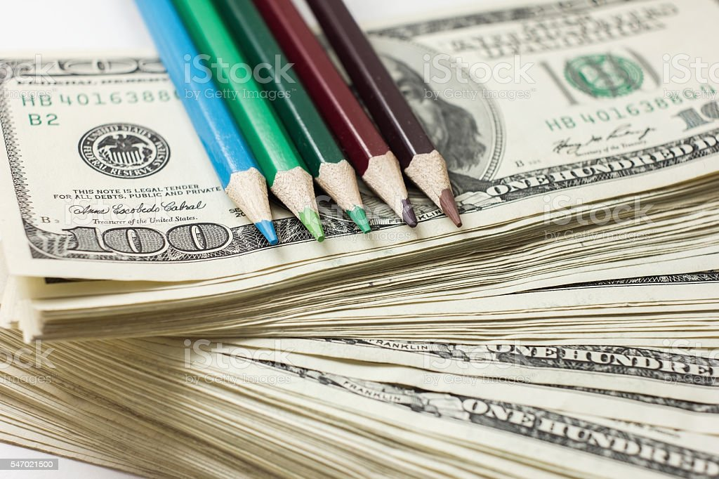 Production of counterfeit dollars, American hundred dollar stack stock photo