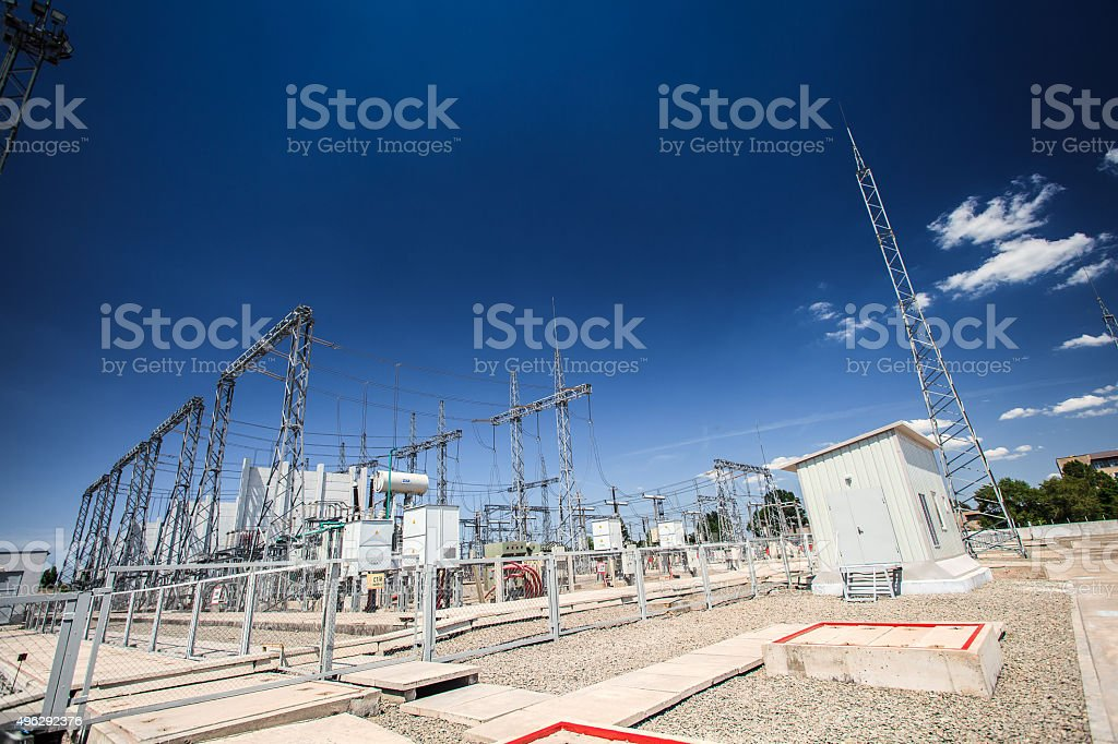 production of electricity substation stock photo
