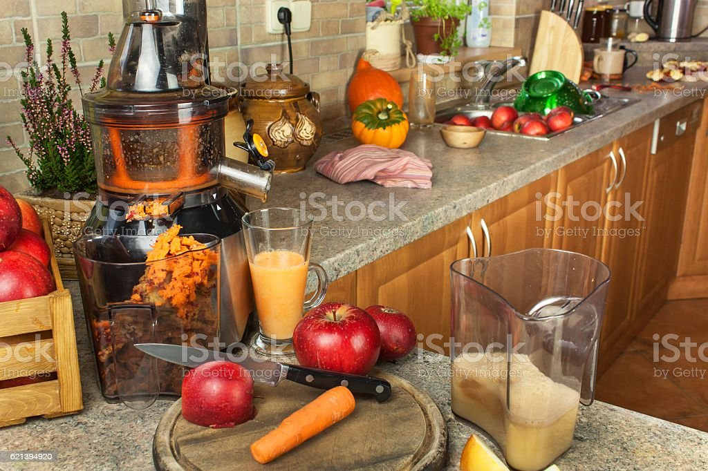 Production of fruit drinks. Healthy lifestyle. stock photo