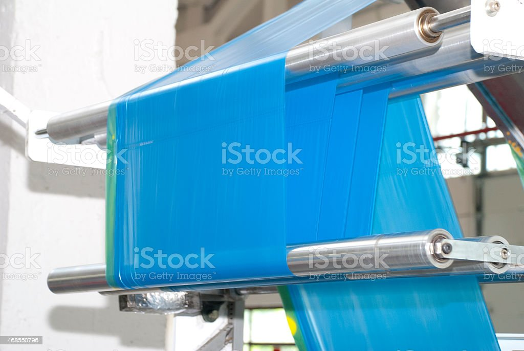production of  plastic bags stock photo