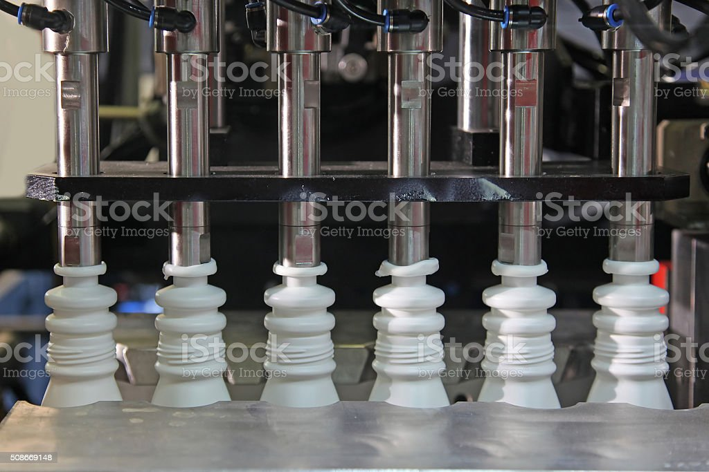 Production of plastic bottles stock photo