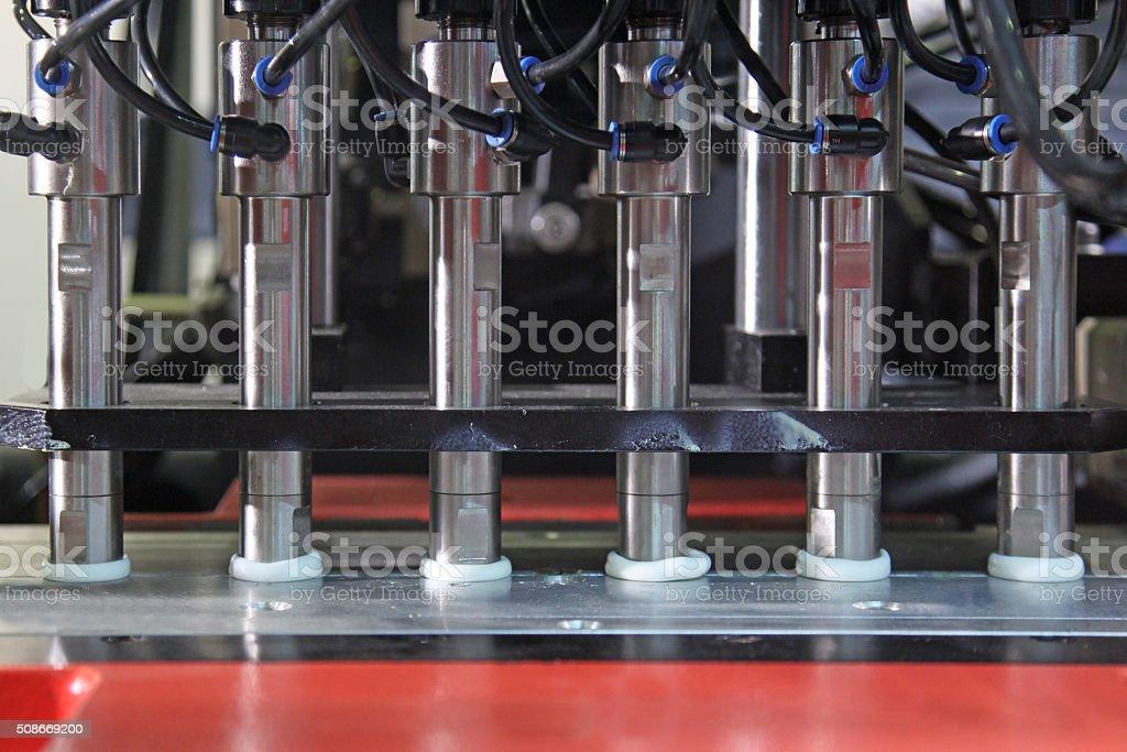 Production of plastic bottles stock photo