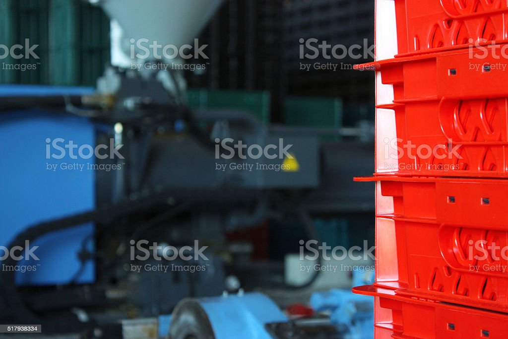 Production of plastic boxes stock photo
