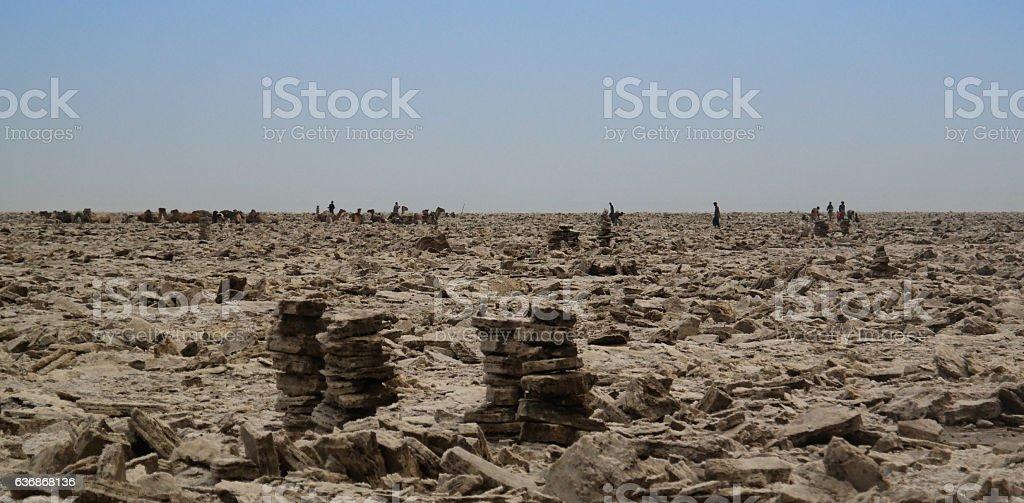 Production of salt on Karum lake, Danakil, Afar Ethiopia stock photo