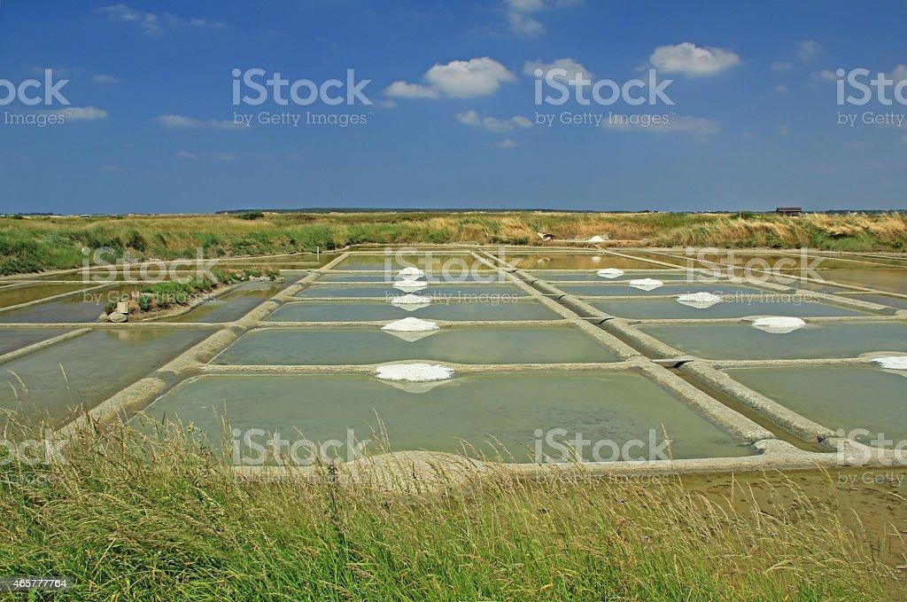 Production of sea salt, France stock photo