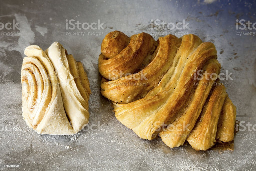 Production of sweet breakfast pastries at a German bakery stock photo