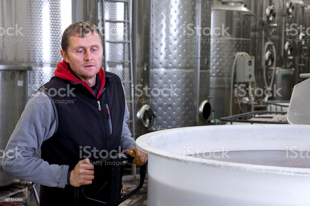 Production of wine in winery stock photo