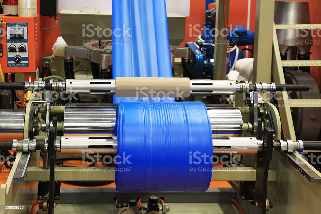 Production plastic bag stock photo