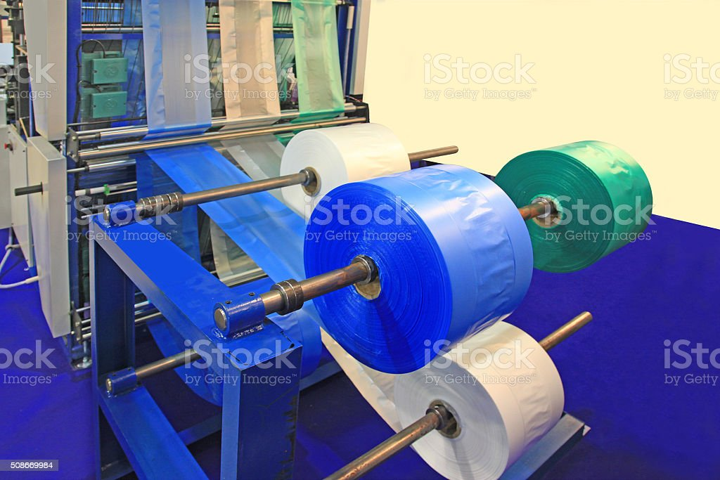 Production plastic bag stock photo