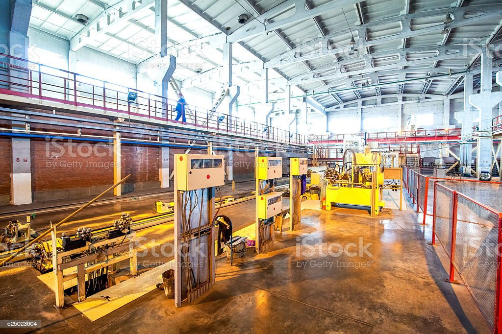 Production process of aerated concrete blocks stock photo