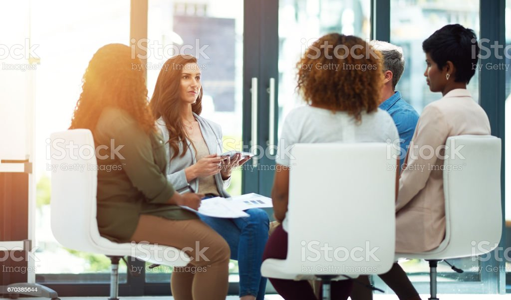 Productivity is a no brainer with teamwork stock photo