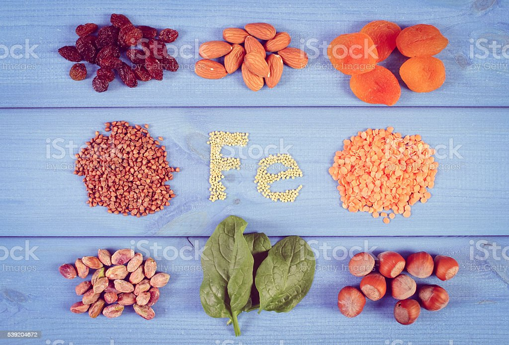 Products and ingredients containing iron and dietary fiber, healthy nutrition stock photo