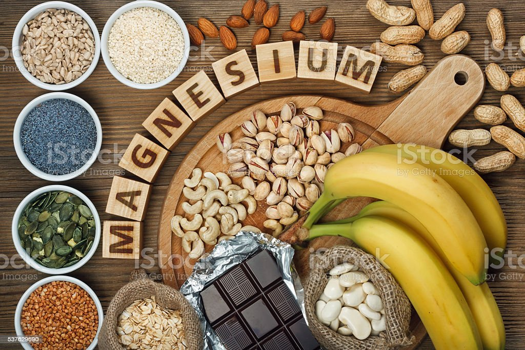 Products containing magnesium stock photo