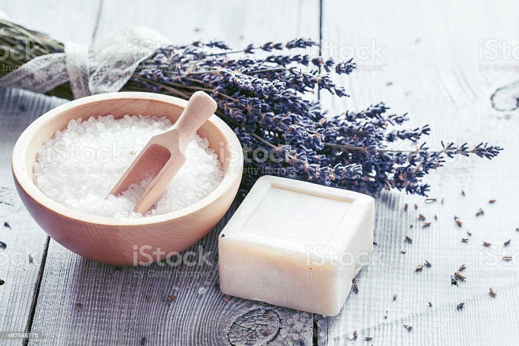 Products for bath, SPA, wellness and hygiene stock photo