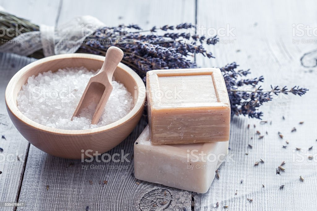 Products for bath, SPA, wellness and hygiene. stock photo