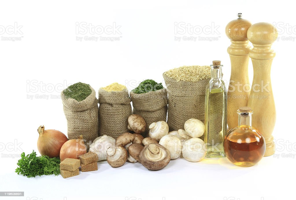 Products for Cooking mushrooms on rice. royalty-free stock photo
